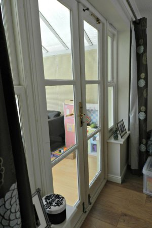 double doors, leading to conservatory