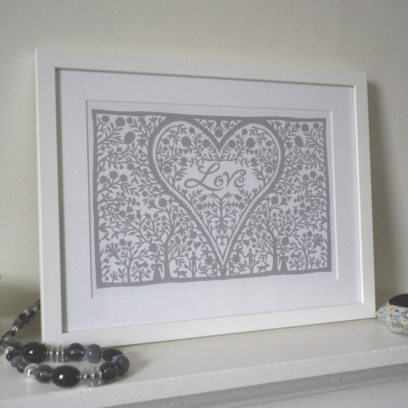 Glynn West Design : Love Heart framed Print, Valentines